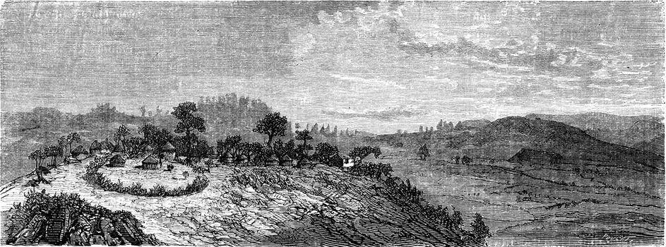 Gafat territory, vintage engraved illustration. Le Tour du Monde, Travel Journal, (1865).