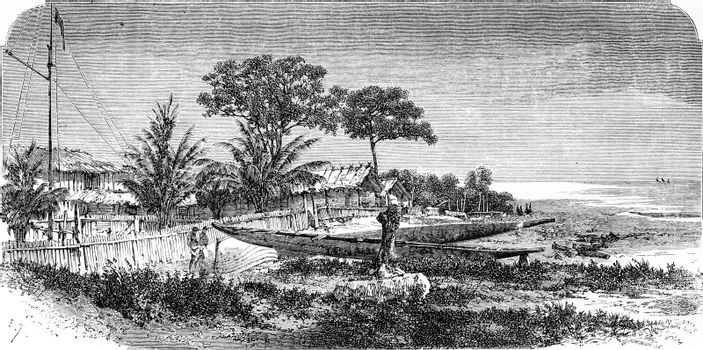 English Glass Factory, vintage engraved illustration. Le Tour du Monde, Travel Journal, (1865).