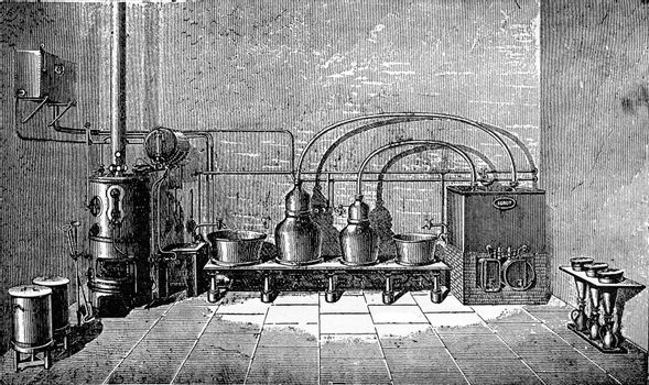 Overview of a medium-sized factory liqueurs, vintage engraving.