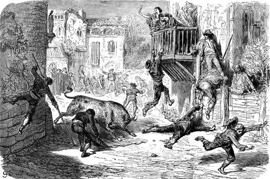 A bullfight in lugar (novillos race in a village), vintage engra