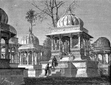 Tombs of the Kings at Maha Sati Ahar, in Udaipur, vintage engrav