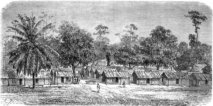 Village of skirmishers in Gabon, vintage engraved illustration. Le Tour du Monde, Travel Journal, (1865).