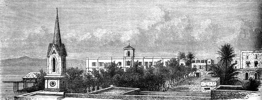 Convent of the ladies of St. Joseph in St. Louis, vintage engraved illustration. Le Tour du Monde, Travel Journal, (1872).