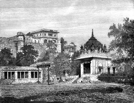 The suburb of Catti Ghati, vintage engraving.