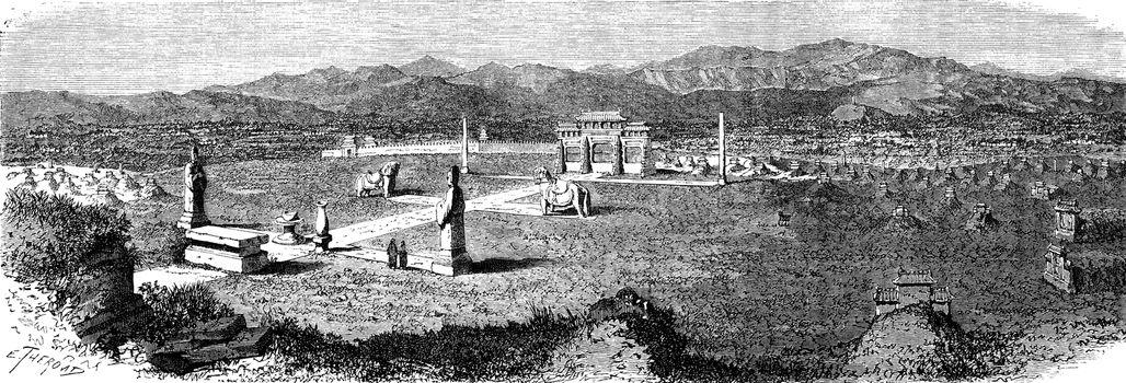 Field tombs Mon-ngan, vintage engraved illustration. Le Tour du Monde, Travel Journal, (1872).