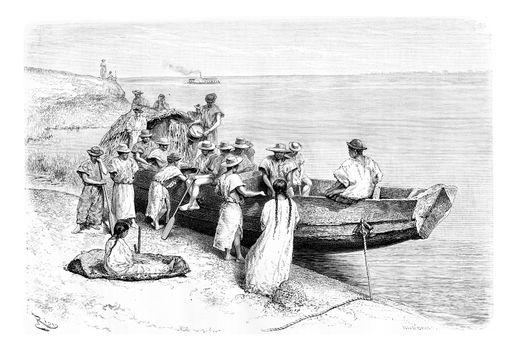 Rubber Researchers Depart by Boat from a Place Near Tabatinga in