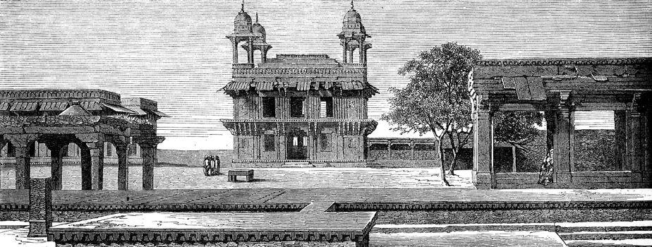 Diwan-i-Khas and court Pachisi to Fatehpur Sikri, vintage engraved illustration. Le Tour du Monde, Travel Journal, (1872).