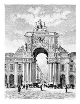 Rua Augusta Triumphal Arch on Commerce Square in Lisbon, Portuga