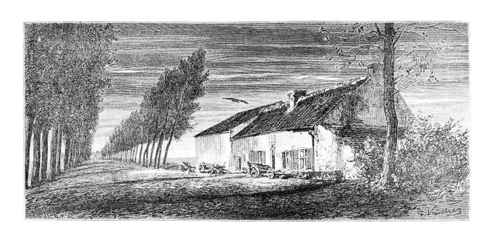 Belle Alliance in south of Brussels, Belgium, drawing by Vuillier based on a photograph, vintage illustration. Le Tour du Monde, Travel Journal, 1881