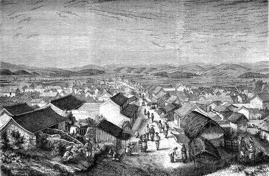 Eastern suburb of Se-mao, vintage engraving.