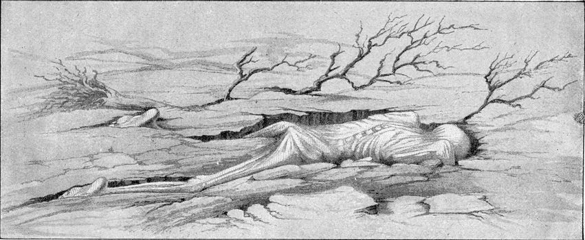 A victim of the tidal wave caused by the eruption of Krakatoa, vintage engraved illustration. From the Universe and Humanity, 1910.