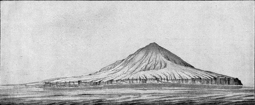 The Krakatoa volcano before the eruption of 1883, vintage engraved illustration. From the Universe and Humanity, 1910.