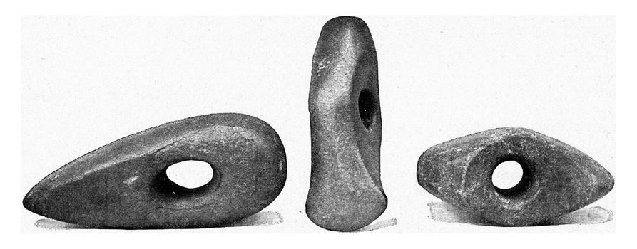 Flint axes of the recent stone age, vintage engraved illustration. From the Universe and Humanity, 1910.