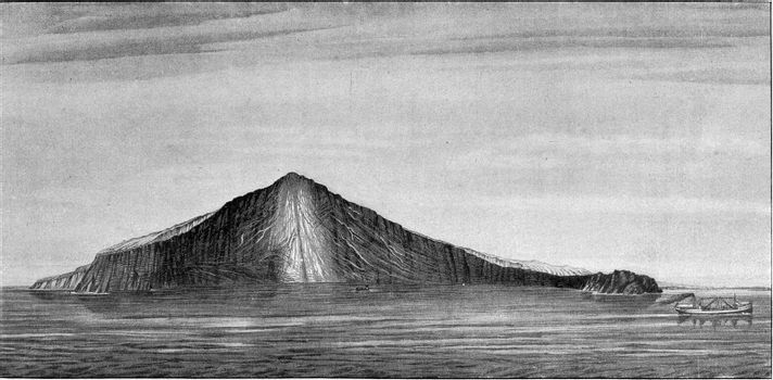 Trench produced by the eruption of 1883 Krakatoa volcano in the Strait of Sunda, vintage engraved illustration. From the Universe and Humanity, 1910.