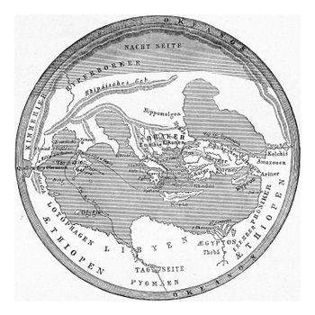 The earth after Homer, vintage engraving.