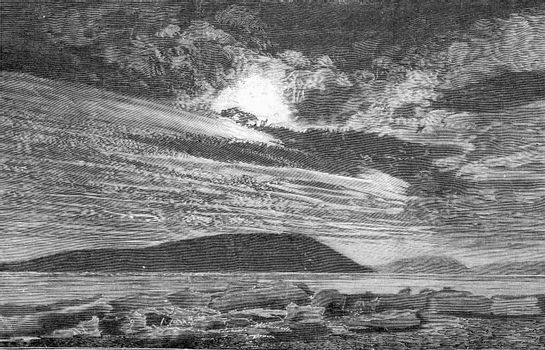 Polar landscape after Greel, vintage engraved illustration. From the Universe and Humanity, 1910.
