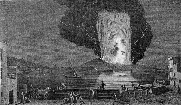 Eruption of Vesuvius August 8, 1779, vintage engraved illustration. From the Universe and Humanity, 1910.