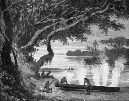 Brazilian Indians digging a tree by fire, vintage engraved illustration. From the Universe and Humanity, 1910.