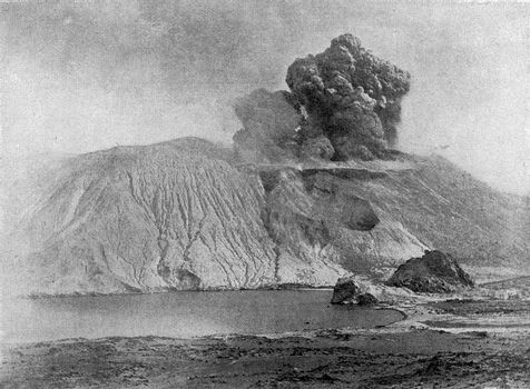 Eruption of Volcano in 1888, vintage engraved illustration. From the Universe and Humanity, 1910.