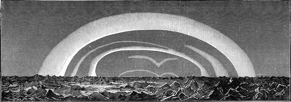 Aurora boreale observed on March 1, 1879 by the expedition of the Vega, vintage engraved illustration. From the Universe and Humanity, 1910.