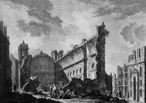 Effects of a big earthquake, Lisbon 1755, vintage engraved illustration. From the Universe and Humanity, 1910.