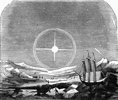 Halo observed in a polar region, vintage engraved illustration. From the Universe and Humanity, 1910.