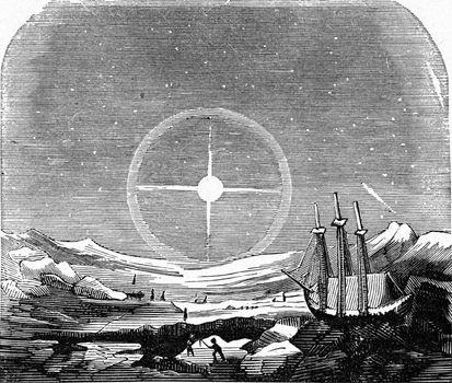Halo observed in a polar region, vintage engraving.