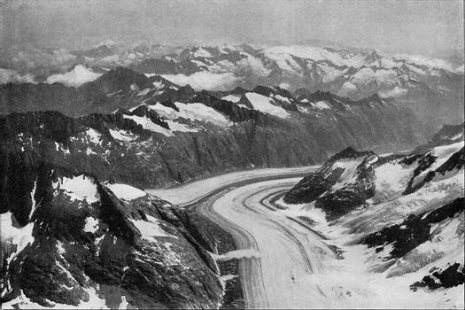 The lower glacier of the Aar with its moraines, vintage engraved illustration. From the Universe and Humanity, 1910.