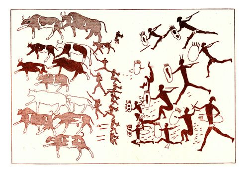 Bushmen defending against the Cafres who pursue them a herd of stolen oxen, vintage engraved illustration. From the Universe and Humanity, 1910.