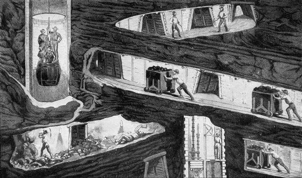 Section of a mine in the mid-nineteenth century, vintage engraved illustration. From the Universe and Humanity, 1910.