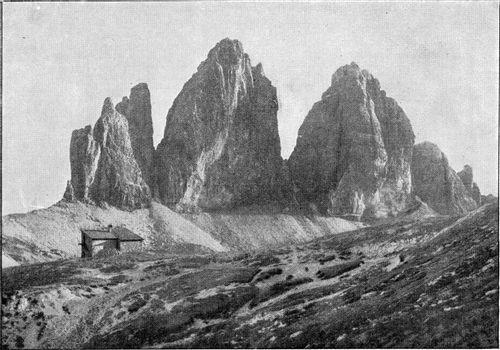 The Three Peaks of the Dolomites, vintage engraved illustration. From the Universe and Humanity, 1910.