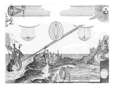 Action of the hollow or burning mirror, vintage engraved illustration. From the Universe and Humanity, 1910.