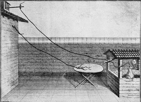 Galvani's experiments on frog legs, vintage engraved illustration. From the Universe and Humanity, 1910.