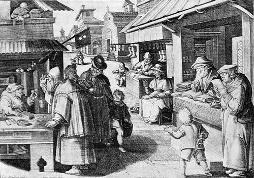 Manufacturers and spectacle wearers in the sixteenth century, vintage engraved illustration. From the Universe and Humanity, 1910.