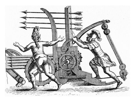 Roman machine throwing javelins by four, vintage engraved illustration. From the Universe and Humanity, 1910.