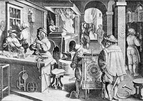 Clock workshop in the sixteenth century, vintage engraved illustration. From the Universe and Humanity, 1910.