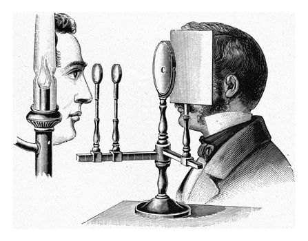 Ophthalmoscope by Helmholtz, vintage engraved illustration. From the Universe and Humanity, 1910.