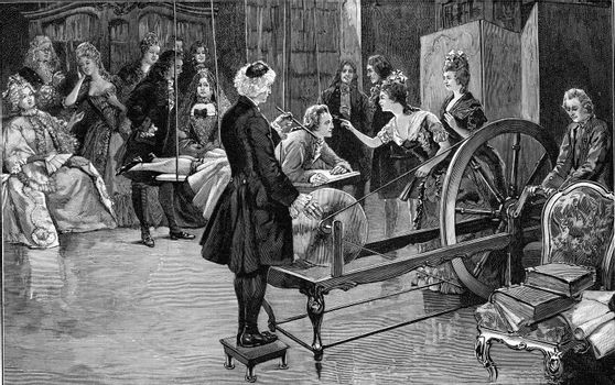 Electrical experiments of Father Nollet in Paris at the beginning of the eighteenth century, vintage engraved illustration. From the Universe and Humanity, 1910.