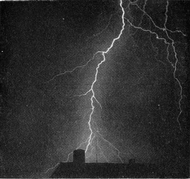 Photograph of a violent thunderbolt, vintage engraved illustration. From the Universe and Humanity, 1910.