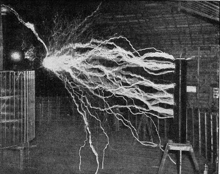 High voltage discharge in the Tesla test station, vintage engraved illustration. From the Universe and Humanity, 1910.