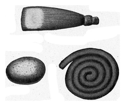 Pottery and pottery utensils begin with clay beads, vintage engraved illustration. From the Universe and Humanity, 1910.