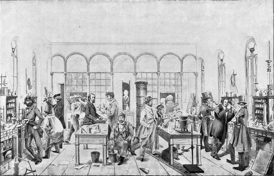 Laboratory Liebig at Giessen to Seltersbeg, vintage engraved illustration. From the Universe and Humanity, 1910.