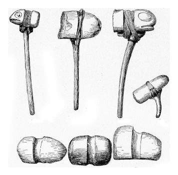 Stone hammers with grooves for the handle, vintage engraved illustration. From the Universe and Humanity, 1910.