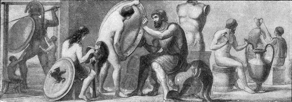 Workshop for the manufacture of bronze in ancient Greece, vintage engraved illustration. From the Universe and Humanity, 1910.