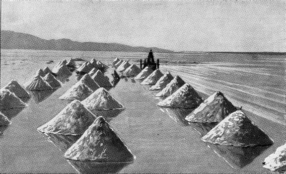 Salines in California, vintage engraved illustration. From the Universe and Humanity, 1910.