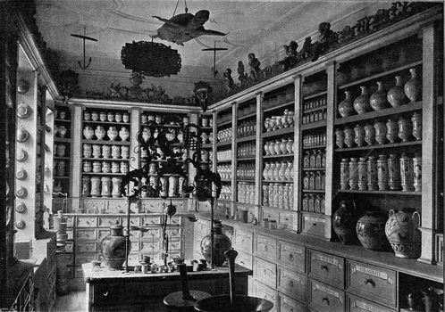 Installation of an old pharmacy in the National Germanic Museum of Nuremberg, vintage engraved illustration. From the Universe and Humanity, 1910.