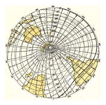 Magnetic meridians and isoclines or lines of equal magnetic inclination, vintage engraved illustration. From the Universe and Humanity, 1910.