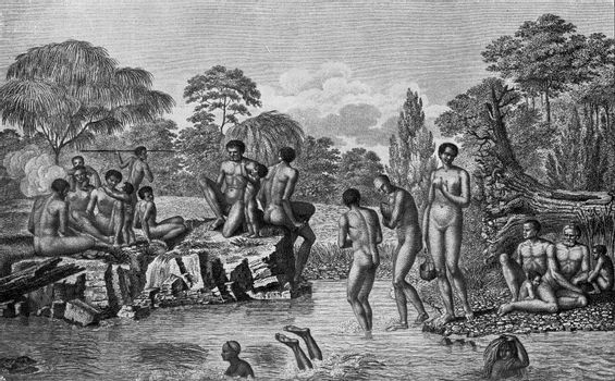 Primitive inhabitants of Tasmania, vintage engraved illustration. From the Universe and Humanity, 1910.