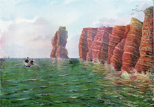 Pointed north of Heligoland to the west at high tide, vintage engraved illustration. From the Universe and Humanity, 1910.