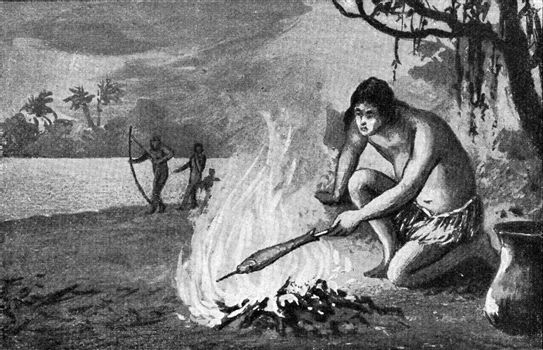 Brazilian grilling a fish, vintage engraved illustration. From the Universe and Humanity, 1910.